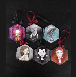 Horror Series Christmas Ornaments. Goth Creepy Tree Decoration.
