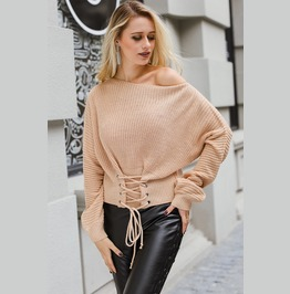 Tie Up Waist Loose Sweaters