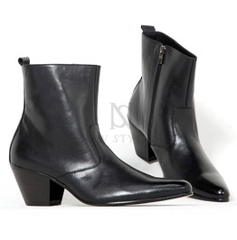 Black Leather Western High Heel Boots 403