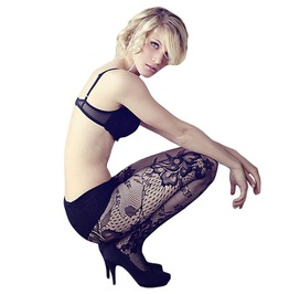 Black Seamless Floral Lace Fishnet High Waist Pantyhose/Tights O/S
