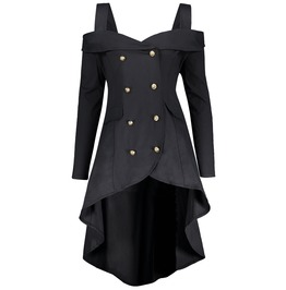 Double Breasted Long Sleeves Asymmetric Black Coat