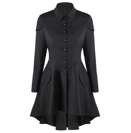 Turn Down Collar Long Sleeves Asymmetric Black Coat