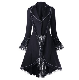 Wide Lapel Lace Long Sleeves Asymmetric Black Coat