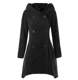 Double Breasted Long Sleeves Asymmetric Hooded Black Coat