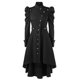 Puff Shoulder Long Sleeves Asymmetric Black Coat