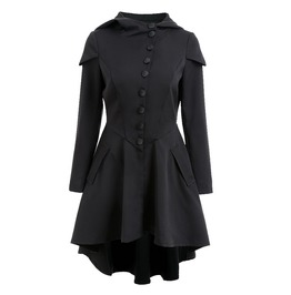 Tie Up Back Long Sleeves Asymmetric Hooded Black Coat