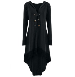 Double Row Buttons Tie Up Back Long Sleeves Asymmetric Hooded Black Coat
