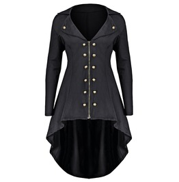 Zip Up Double Rows Buttons Long Sleeves Asymmetric Black Coat