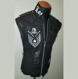 Los Angeles Black Denim Skull Patch Punk Rock Jacket Vest Slim Fit Khaki