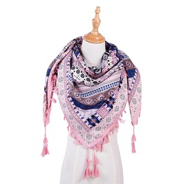 Square Boho Print Tassel Scarf Women Winter Wraps Shawl
