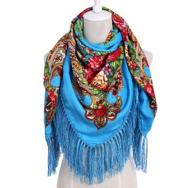 Long Tassel Floral Print Big Square Vintage Boho Cotton Scarf Winter Shawl