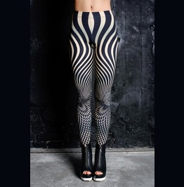 Beige Striped Cyberpunk Leggings