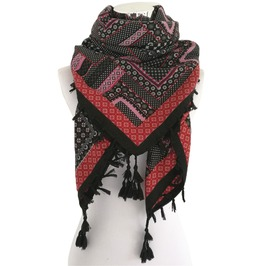 Boho Print Square Tassel Winter Scarf Shawl