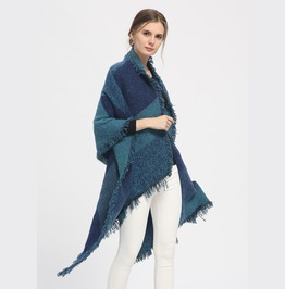 Thicken Plaid Wraps Wool Cashmere Capes Winter Scarf
