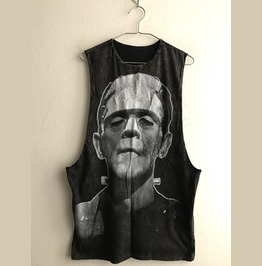 Frankenstein Monster Punk Rock Stone Wash Vest Tank Top M