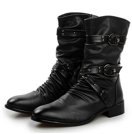 Men's Buckle Straps Ruched Faux Leather Biker Ankle Boots Pointed Toe Boots