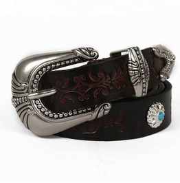 Women's Retro Cowhide Mixed Crystal Embossing Belt