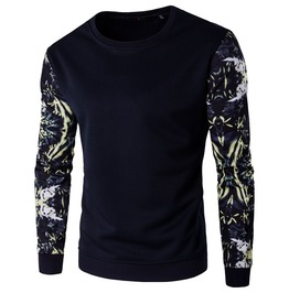 Men's Floral Printed Sleeve Colorblock Slim Fitted Sweatershirt Pullover