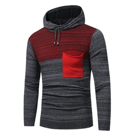 Men's Heathered Contrast Slim Fitted Knit Hoodies