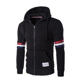 Men's Stripe Sleeve Zipper Hooded Jacket
