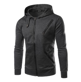 Men's Mutiple Zipper Deco Zipper Hoodies