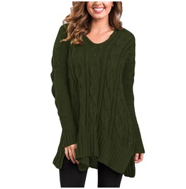 Women's V Neck Cable Knit Loose Sweater
