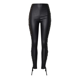 Women's Lace Up Slim Fitted Faux Leather Leggings