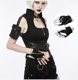 Women Punk Rock Half Finger Gothic Gloves Zipper Fingerless Glove