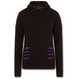 Large Hood Ripped Hoody Purple Black