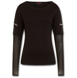 Metal Streetwear Mesh Sleeve Zip Shoulder Long Sleeve Ladies