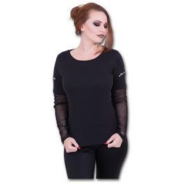 Metal Streetwear Mesh Sleeve Zip Shoulder Long Sleeve Ladies
