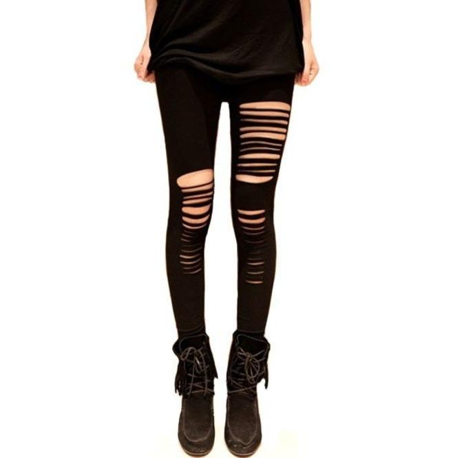 ea789e40fa479d Black Stretchy Leggings Ripped Holes Punk Goth S Xxl | RebelsMarket