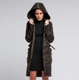 Military Winter Coat | Oversized Plus Size Hoodie | Camo Wool Sweater Coat