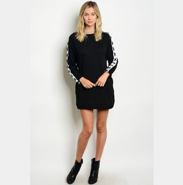 Play Dead Lace Up Sleeve Sweater Dress