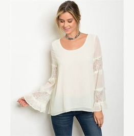 Luna Ivory Chiffon Bell Sleeved Top