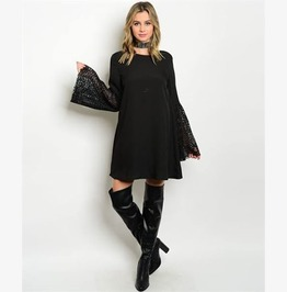 Miss Misfortune Witchy Lace Sleeved Black Dress