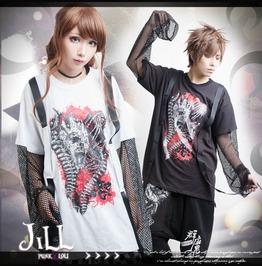 Punk Visual Heavy Rock Anima Demon Bone Fishnet Sleeve Baggy Tee【Jag0029】