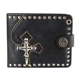 Punk Rock Genuine Leather Skulls Cross Rivet Bill Holder Purse Wallet Men