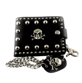 Genuine Leather Studded Punk Biker Skull Wallet With Jeans Long Key Chain