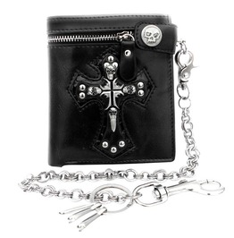 Skull Cross Black Leather Biker Punk Snap Zipper Wallet With Long Key