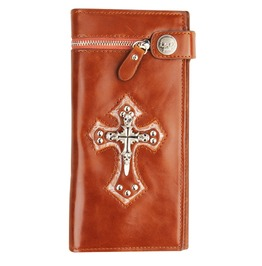 Punk Rock Silver Skull Cross Long Wallet Card Holder