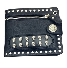 Rock Punk Skulls Rivets Studs Pu Leather Wallet Card Holder