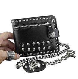 Skulls Rivets Studs Real Leather Wallet Card Holder W Jeans Long Key Chain