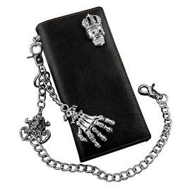 Gothic Biker King Skull Long Leather Wallet W Skeleton Hand Jeans Key Chain