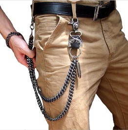 Punk Rock Guns Bullet Horn Skull Wallet Jeans Key Chain Waist Chain