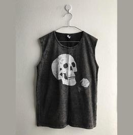 Skull Goth Punk Stone Wash Vest Tank Top M