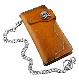Skull Motorcycle Trucker Men Leather Wallet Purse With Chain