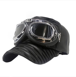 Steampunk Vintage Goggles Pilots Black Faux Leather Cap