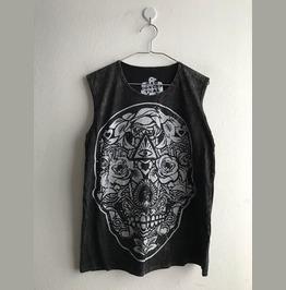 Skull Gothic Punk Stone Wash Vest Tank Top M