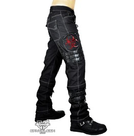 Cryoflesh Biohazard Fallout Gothic Red Chrome Hardcore D Ring Pants